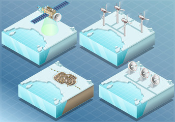 Isometric Arctic Satellite, Windmill, Mine, Radar