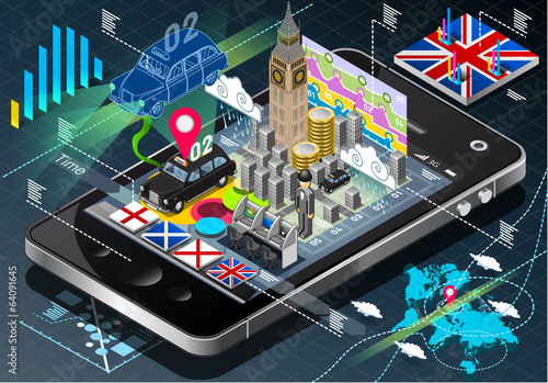 Isometric Infographic of Great Britain on Mobile Phone