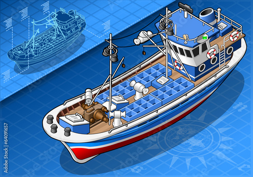 Isometric Fishing Boat Isolated in Front View