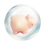 piggy bank inside bubble