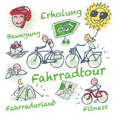 Strichmännchen mit Fahrradurlaub und Fahrradtour