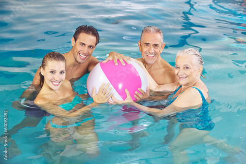 Happy group in swimming pool with water ball