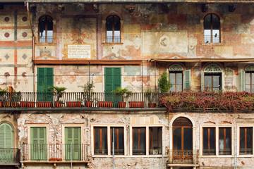 Ancient building on Piazza delle Erbe, Verona, Italy