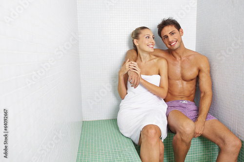 Couple sitting in relaxation room