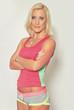 blond serious woman in sportswear