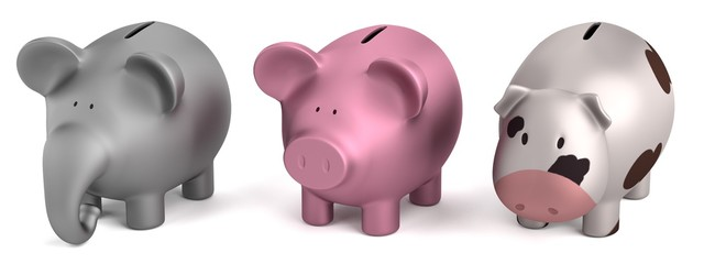 realistic 3d render of piggy banks