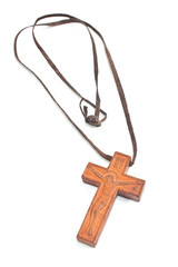 Wooden Christian cross necklace isolated on white