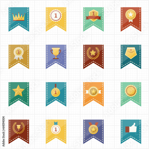 Badge Seal and Ribbon icons