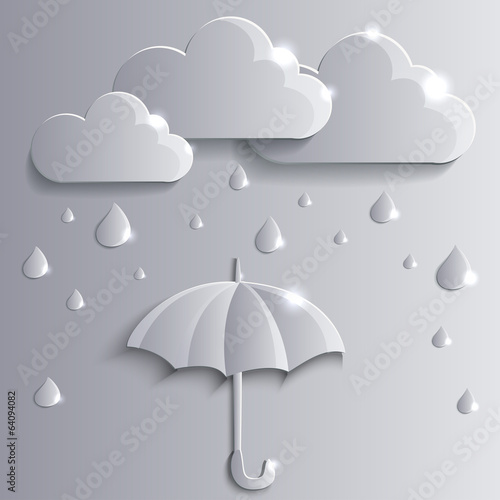 vector clouds with rain and open umbrella