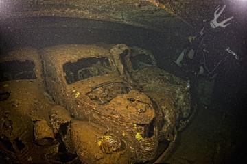 Old Car inside II world war ship wreck hold