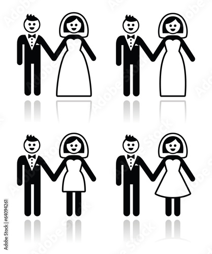 Wedding, married couple, bride and groom icons set