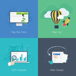 Flat web development business concepts vector set