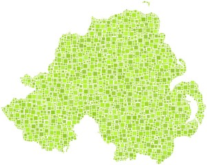 Northern Ireland in a mosaic of green squares