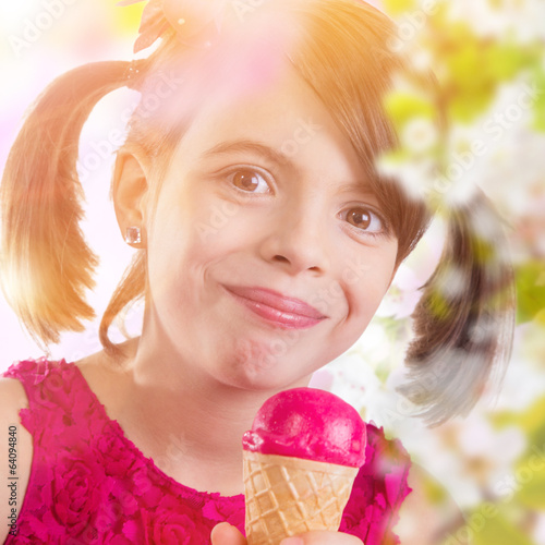 Little cute girl with ice cream