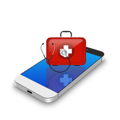 Red First Aid kit with stethoscope on smartphone,cell phone illu