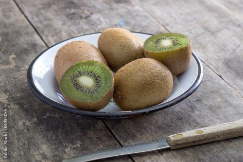 Close up view of fresh kiwis fruits