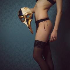 Beautiful woman in black underwear