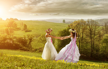 2 beautiful bride in the morning ,friendship symbol