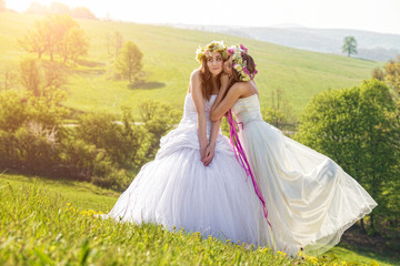 2 beautiful bride in the morning , friendship symbol
