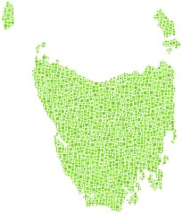 Map of the state of Tasmania in a mosaic of green square