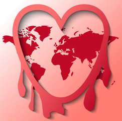 Illustration of internet leak Heartbleed with world map