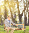 Senior playing chess alone in park