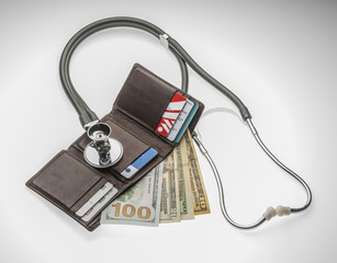 Wallet and stethoscope