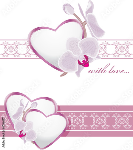 Decorative borders with hearts and blooming orchids