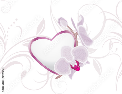 Decorative heart with blooming orchids