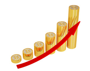 Red arrow and golden Bitcoins - growth chart on white background