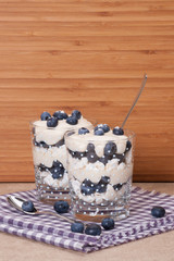 Blueberry Dessert With Cream And Meringues