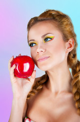 the woman with the big red Apple