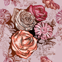 Seamless pattern with roses and Chamomile