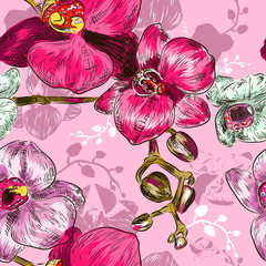 Seamless orchid Pattern