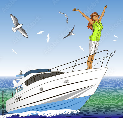 Beautiful girl with arms outstretched on yacht deck