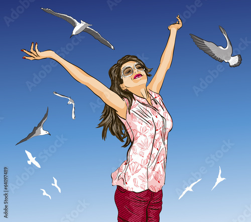 girl with arms outstretched against sky and flying birds