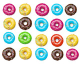 Fototapety tasty colorful donuts background, isolated on white