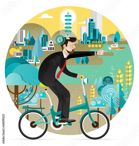 Green business economy Concept Vector