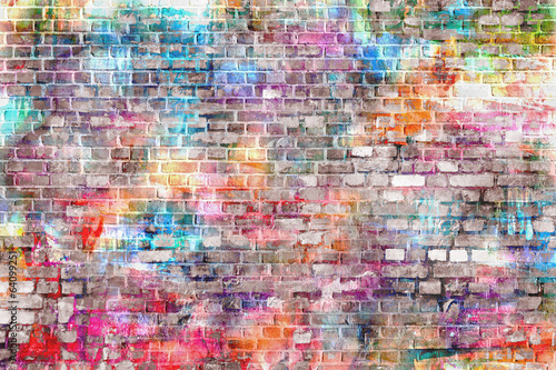 Aluminium Graffiti Colorful grunge art wall illustration, background