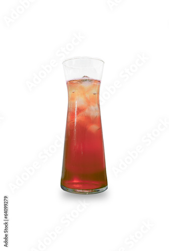 Glass of Cherry Juice isolated on white background