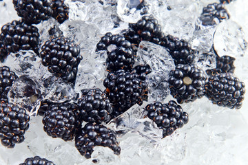 ripe blackberry with ice