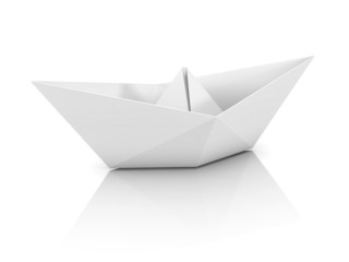 paper boat 3d illustration