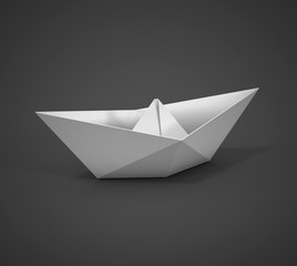 white paper boat on a dark background
