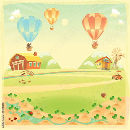 Funny landscape with farm and hot air baloons
