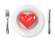 3d red heart on a plate