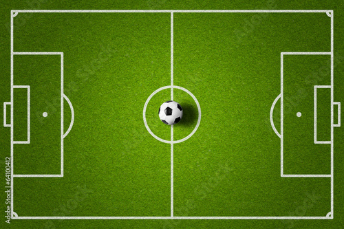 soccer field and ball top view