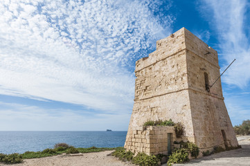 Coastal watch tower near Blue Grotto in Malta