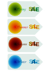 set of seasonal shopping labels with bright flowers