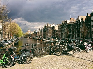 street scene in amsterdam