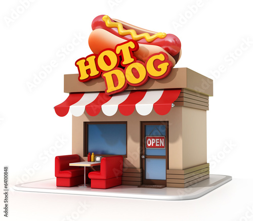 hot dog store 3d illustration